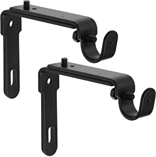 gbHome GB-6809 Adjustable Curtain Rod Wall Bracket, Set of 2, Black, Premium Steel Single Rod Bracket for Walls, Drapery Rod Holder, Extendable Metal Wall Bracket
