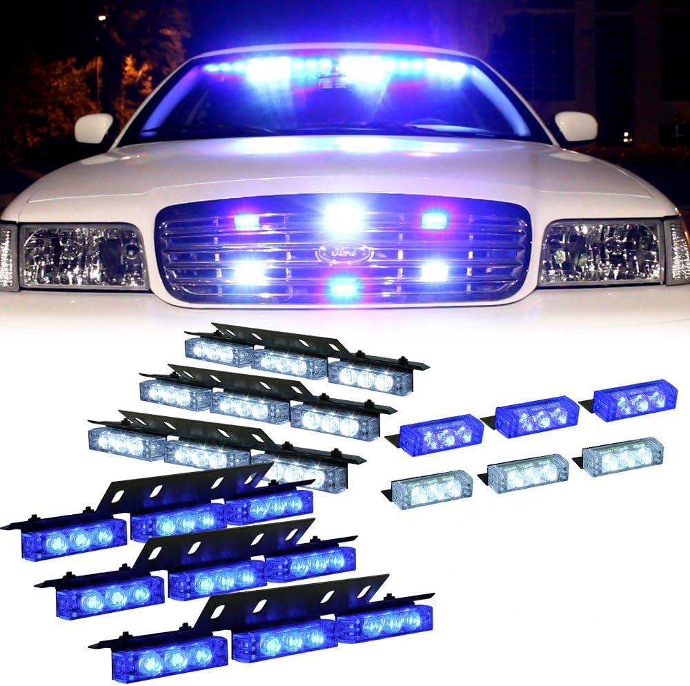 Interior Emergency Strobe Lights for Dash Grille Blue 54X LED Deck Visor Flashing Warning Light for Volunteer Firefighter Vehicles