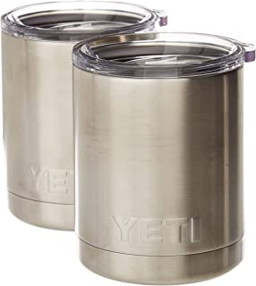 YETI Rambler 10 ounce Vacuum Insulated Stainless Steel Lowball with Lid (2 Pack)