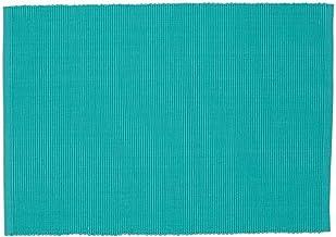 Design Imports Blue Santorini Cotton Table Linens, Placemats 13-Inch by 19-Inch, Set of 4, Aqua Mint