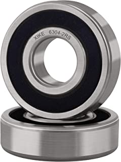 XiKe 2 Pcs 6304-2RS Double Rubber Seal Bearings 20x52x15mm, Pre-Lubricated and Stable Performance and Cost Effective, Deep Groove Ball Bearings.