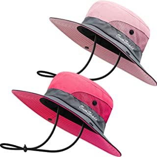 2 Pack Sun UV Protection Hat Mesh Wide Brim Sun Hat Outdoor Foldable Beach Hiking Fishing Summer Hat