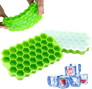 MINI Freezer Covered Stackable Food Grade BPA Flexible Free 74 Cubes Stackable for Cocktail Whiskey, Silicone Green Ice Cu...