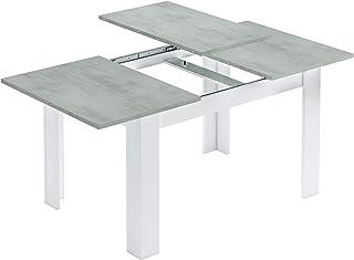 tendencio Table Extensible Kenda avec Plateau Couleur béton Gris et Pieds Blancs 140 à 190 cm