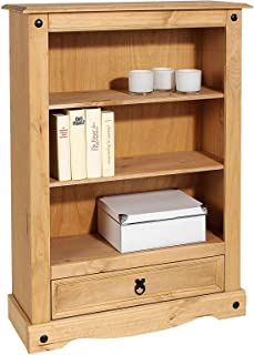 IDIMEX Bibliothèque Salsa étagère en Bois Style Mexicain avec 2 tablettes et 1 tiroir, en pin Massif Finition teintée/cirée