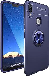 Vivo V9 ケース,シリコーン TPU ショックプルーフ保護ケース,亜鉛合金360°回転する キックスタンド,吸着車のホルダー カバー ために Vivo V9 (ブルー/ブルー)