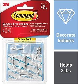 Command Hooks, 6 hooks, 8 strips, Medium (17065CLR-6ES)