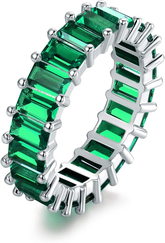 Barzel Created-Gemstone Eternity Ring for Women 18K White Gold Plated Emerald Cut Created Gemstone Eternity Wedding Band