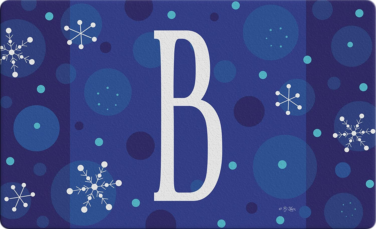 Toland Home Garden Winter Snowflakes Monogram B 18x30-Inch Decorative USA-Produced Standard Indoor-Outdoor Designer Mat 800147