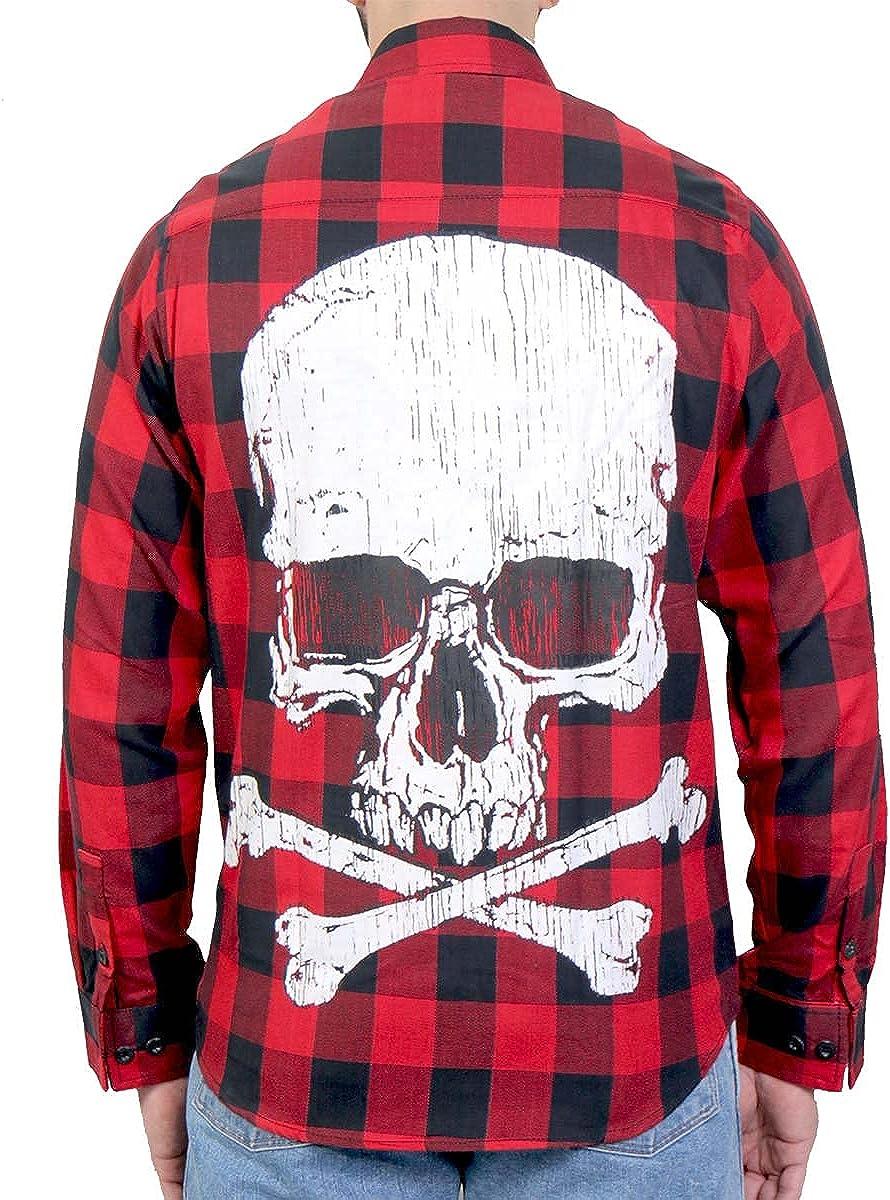 Hot Leathers FLM2103 Men's 'Skull and Bones' Flannel Long Sleeve Shirt