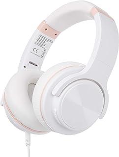 AmazonBasics – Auriculares inalámbricos circumaurales Bluetooth con conector microUSB y cable de audio de 3,5mm, blanco
