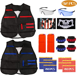 RATEL Kit de Chaleco Táctico para Niños, 92pcs Traje de chaqueta para N-Strike Elite Series con 80 piezas de espuma Dardos + 2 Quick Reload Clips + 2 Gafas protectoras + 2 Máscara + 4 muñequera