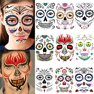 9 Sheets Different Styles Halloween Horror Temporary Face Tattoos Stickers Waterproof Cos Play Party Prop Decorations Masquerade (Mask sticker)