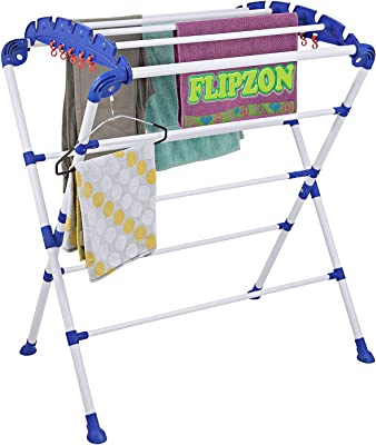 FLIPZON Mini Sumo Pre Assembled, Foldable Cast Iron Cloth Drying Stand - Blue and White