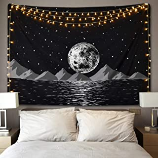 Moon Rising Mountain Tapestry, Starry Night Sky Tapestry Space Moon Tapestry Galaxy Stars Tapestry Sea Coastal Mountain Landscape Tapestry for Living Room Bedroom