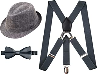 1 inch Suspender and Bow Tie Set with Hat for Kids