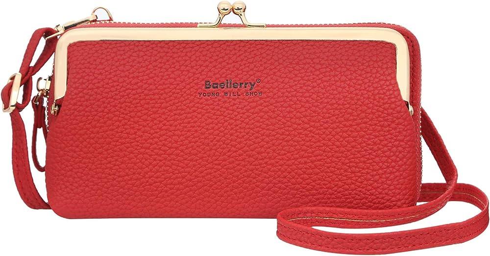 Yixuan portafogli a borsetta da donna a tracolla porta cellulare in pelle sintetica rosso