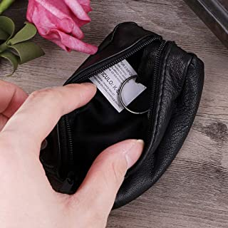 Hacloser Coin Purse with Key Ring Leather Zip around Wallets Mini Change Bag Black for Coins