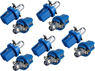 SODIAL 10 x LED Bombilla medidor salpicadero B8-5D T5 lampara con sostenedor de afinacion azul luz de coche auto