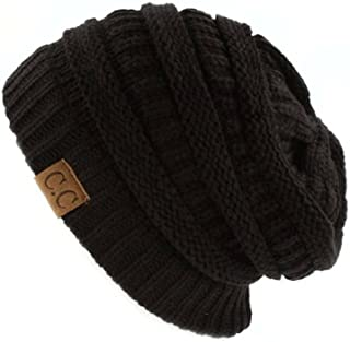 89213f9c68d C.C Trendy Warm Chunky Soft Stretch Cable Knit Beanie Skully