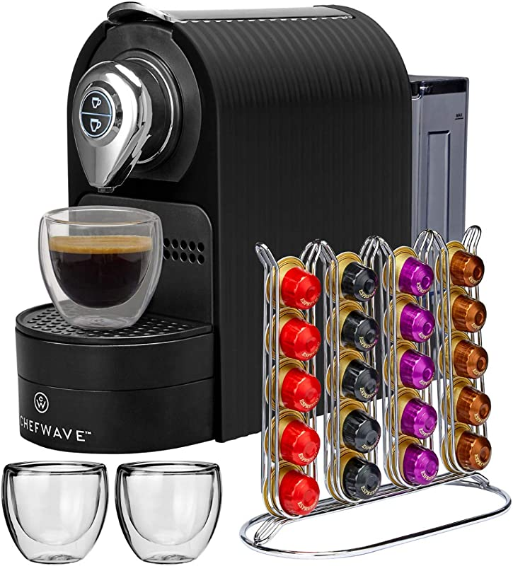 ChefWave Mini Espresso Machine Nespresso Capsules Compatible Programmable One Touch 27 Oz Water Tank Premium Italian 20 Bar High Pressure Pump 40 Pod Holder 2 Double Wall Glass Cups Black