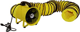 MaxxAir HVHF 08COMBO Heavy Duty Cylinder Fan with 20-foot Vinyl Hose, High Velocity Portable Blower/Exhaust Axial Hose Fan, 8-Inch, Yellow
