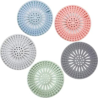 TARIO Rubber Hair Catcher Drain - Flexible Shower Drain Hair Trap - Durable Shower Drain Cover, Easy to Install and Clean Hair Stopper for Bathroom, Bathtub, Handbasin and Kitchen ( 5-Pack)