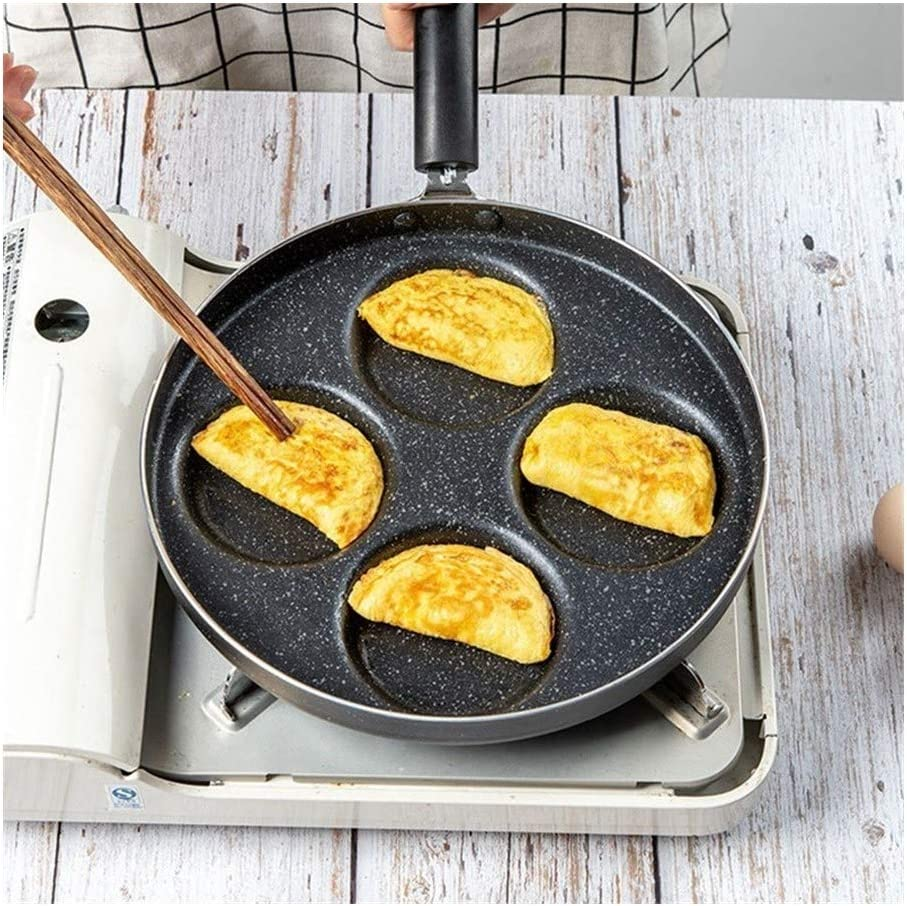 HEIFENGMUMA Crisp Quatre Trous Omelette poêle Anti-adhésive Aucune Huile fumée POELES for Les œufs Ham Pancake Maker Cuisinier (Color : B) A