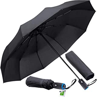 Tadge Goods Windproof Travel Umbrella with Automatic Open/Close (Black) Repel Rain Resistant Canopy with Teflon Coating | Wind Proof Durability | Includes Carry Bag