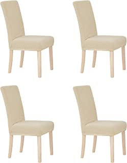 Deconovo Luxury Soft Stretchy Chair Protectors Wrinkle Resistant Short Dining Chair Covers for Kitchen Set of 4 Beige