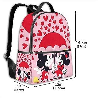 Classic School Backpack Mickey and Minnie Love Unisex College Schoolbag Travel Bookbag Black