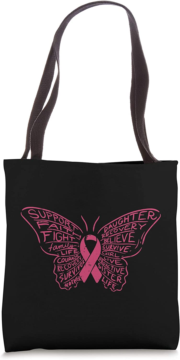 Breast Cancer Awareness Pink Ribbon Butterfly Words Tote Bag