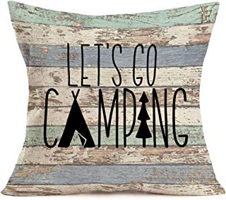 Smilyard Retro Wooden Throw Pillow Covers Let's Go Camper Quote Lettering Decorative Pillowcase Square Cushion Cover for Home CarSofa Bedroom18x18 Inch (Camper-B)
