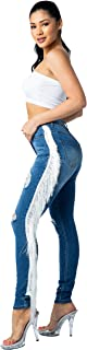 AP Blue Aphrodite High Waisted Jeans for Women - High Rise Womens Hand Sanding Distressed Ripped Cut Out Jeans