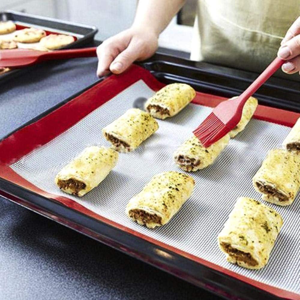LINL Barbecue Huile Brosse - 8 Pouces, badigeonner en Silicone Barbecue pâtisseries Turquie Bastet Brosse, Accessoires de Cuisine,Bleu Rouge