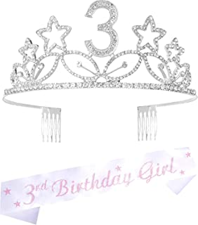 3rd Birthday Gifts for Girl, 3rd Birthday Tiara and Sash silver, HAPPY 3rd Birthday Party Supplies, 3 & Fabulous Glitter S...