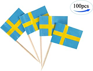 Sweden Flag Swede Flags,100 Pcs Cupcake Toppers Flag, Country Toothpick Flag,Small Mini Stick flags Picks Party Decoration Celebration Cocktail Food Bar Cake Flags