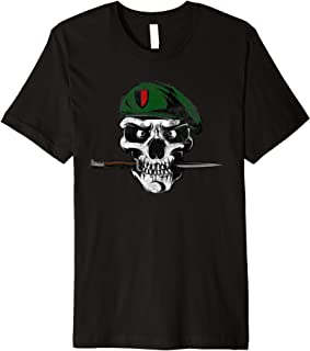 Soldier Skull With Knife Military Premium T-Shirt
