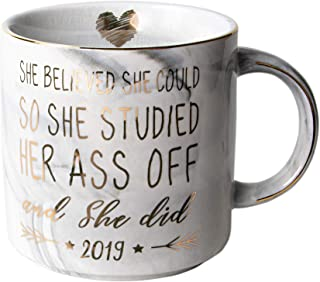 Vilight Congratulations Gifts and 2019 Graduation Gifts for Her - She Believed she could So She Did - Marble Ceramic Coffee Mug 11 Oz