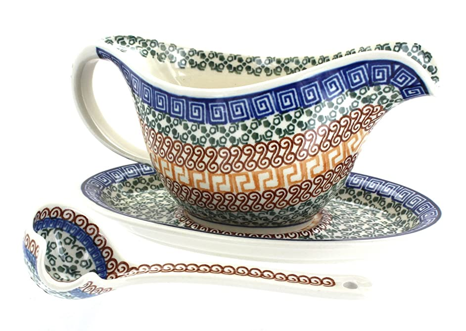 Polish Pottery Athena Gravy Boat, Plate, & Ladle
