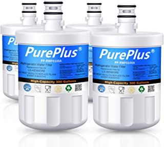PUREPLUS LT500P Refrigerator Water Filter, Compatible with LG LT500P, 5231JA2002A, 5231JA2002B, ADQ72910901,GEN11042FR-08, LFX25974ST, Kenmore 9890, 46-9890, 469890, LFX25973D, LSC27925ST (Pack of 4