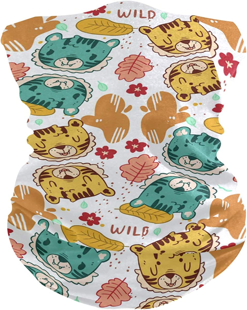 Protection Anti Droplet Lovely Hand Drawn Tiger Pattern Face Mask Summer UV Neck Gaiter Scarf Sunscreen Breathable Bandana for Sport Outdoor