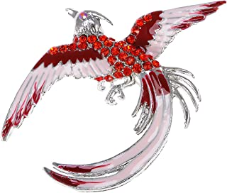 Red Rhinestone Crystal Enamel Flame Phoenix Fire Bird Resurrection Survivor Brooch Pin