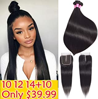 Brazilian Straight Hair Bundles with Closure 10