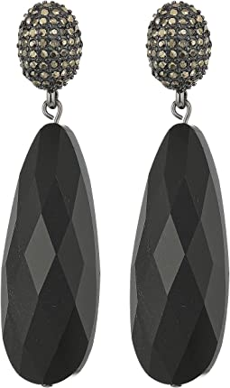 Pyrite Pave Post with Long Teardrop Earrings