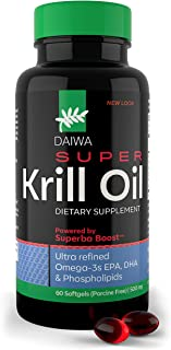 Daiwa Super Krill Oil – Omega 3 Supplement Capsules with a Superba Boost - EPA DHA Complex for Joint, Brain...