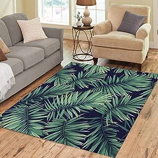 Pinbeam Area Rug Dark Tropical Pattern Exotic Plants Green Phoenix Palm Home Decor Floor Rug 5' x 7' Carpet