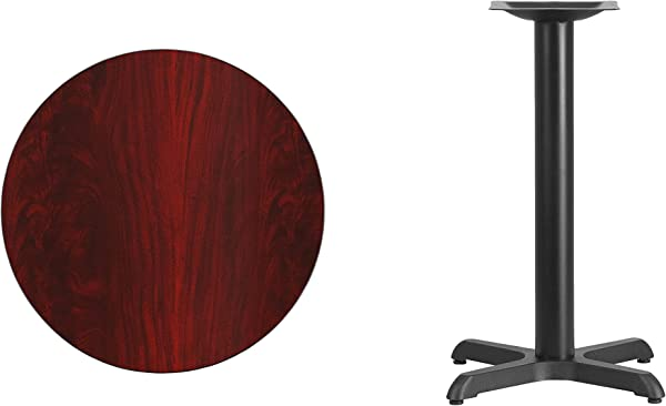 Flash Furniture 24 Round Mahogany Laminate Table Top With 22 X 22 Table Height Base