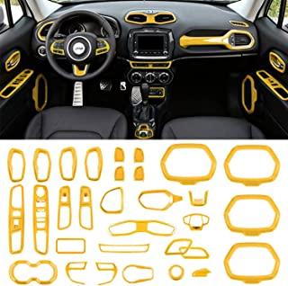 Danti Car Interior Accessories Decoration Trim Air Conditioning Vent Decoration & Door Speaker & Water Cup Holder & Headlight Switch & Window Lift Button Covers for Jeep Renegade 2015-2020 (Yellow)