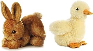 Aurora 2Piece Plush Mini Flopsies Bundle, Bitty Bunny & Duckling, Brown